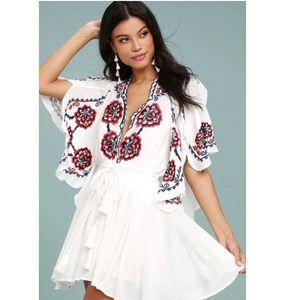 [Free People] Cora embroidered Mini boho dress